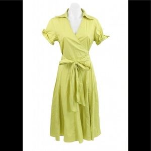 Sandro Women's Yellow V-Neck Cap Sleeved Dress.